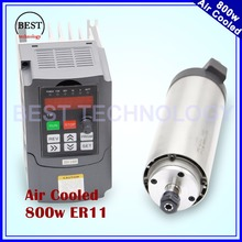 220V 800W ER11 Air cooled spindle motor 4 bearings 0.8kw air cooling precision 0.01 & 800w VFD inverter variable frequency drive