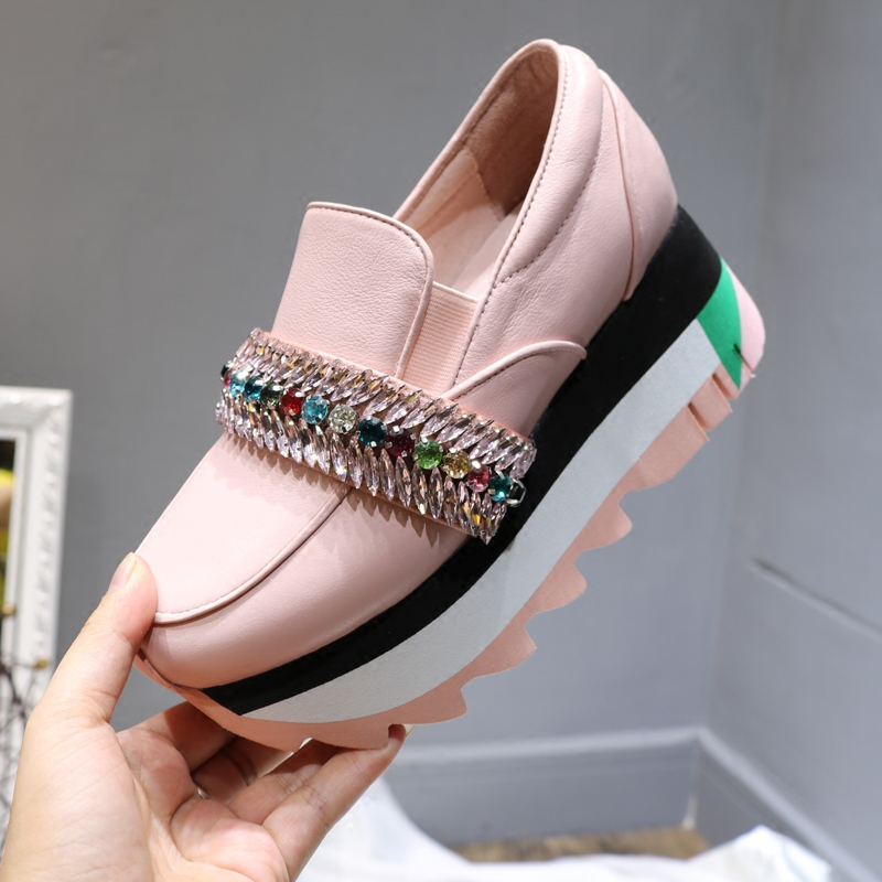 Shoes Woman 2018 Autumn High Heels Leather Women Shoes Sapato Feminino Slip On Ladies Shoes Platform Sneakers Zapatos De Mujer 2018 women shoes high heel style ladies shoes woman women zapatos de mujer high heels sapato feminino chaussure femme pumps d 2