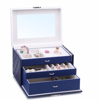 Blue Large Jewelry Storage Box Leather