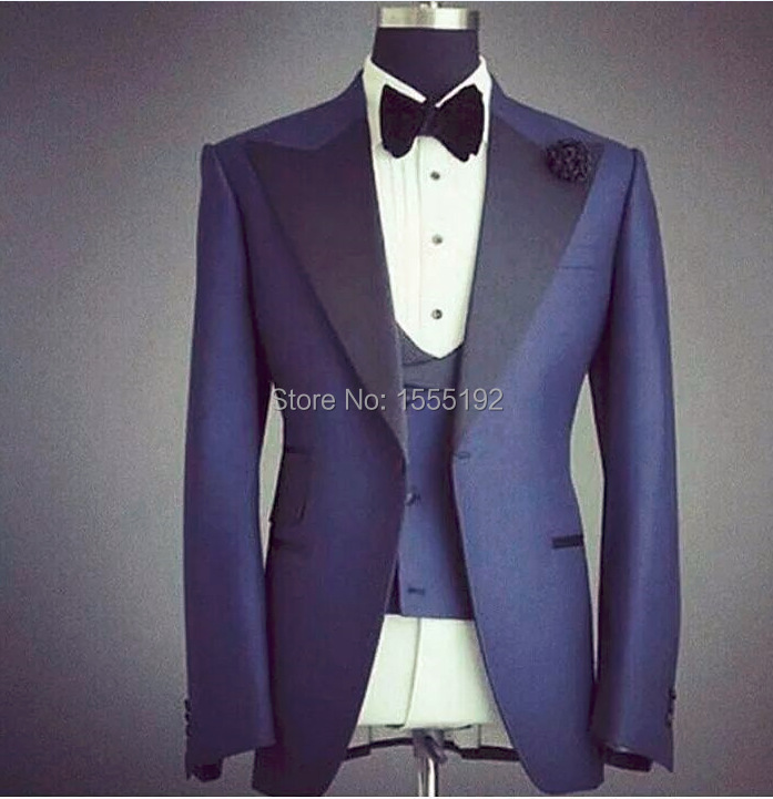 High Quality Real Picture Custom Made Navy Groom Tuxedos Business ...