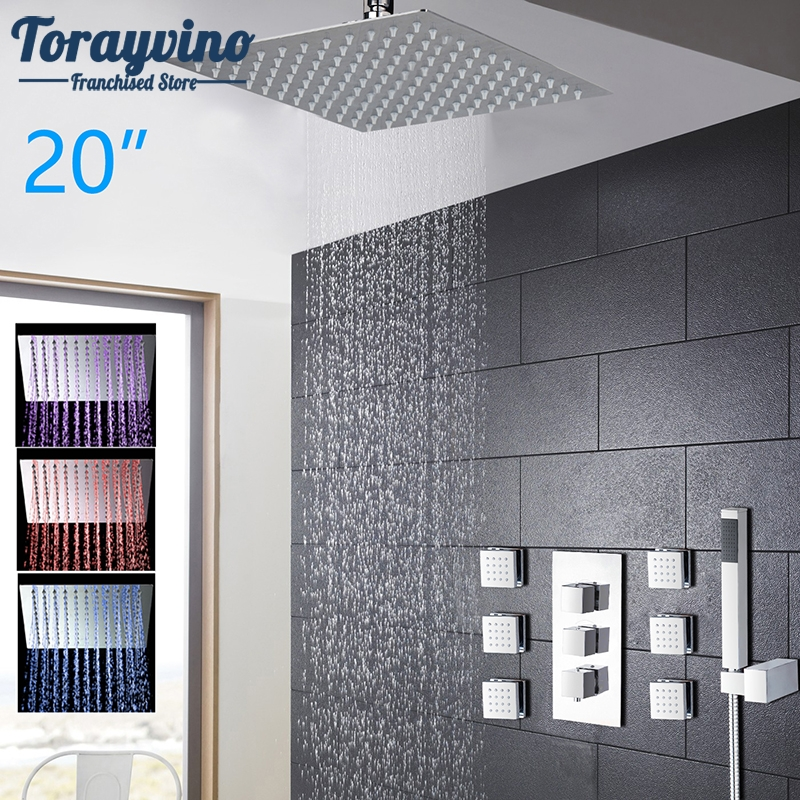 Luxury LED Rain Shower Set Bathroom Faucet Chrome Polished Shower Head Hand Shower Spray Mixer Tap Shower Accessaries