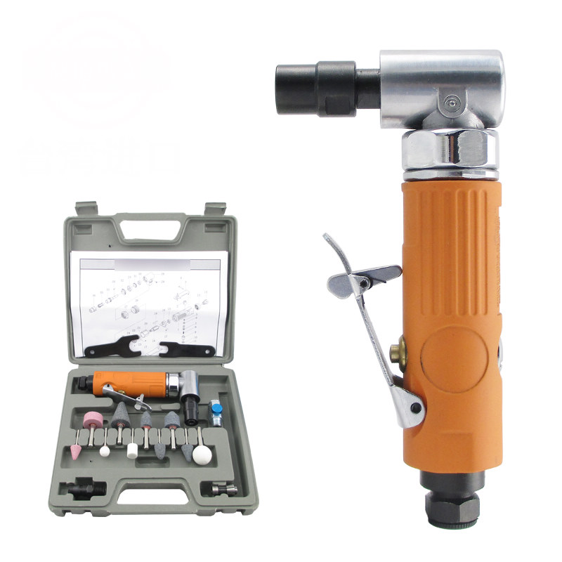 Right-angle Pneumatic Air Die Grinder Kit polishing grinding Speed-control Switch Iron Motor Drive Tools Repair 22000RPM air die grinder mag 094n air tools max free speed 23 500rpm