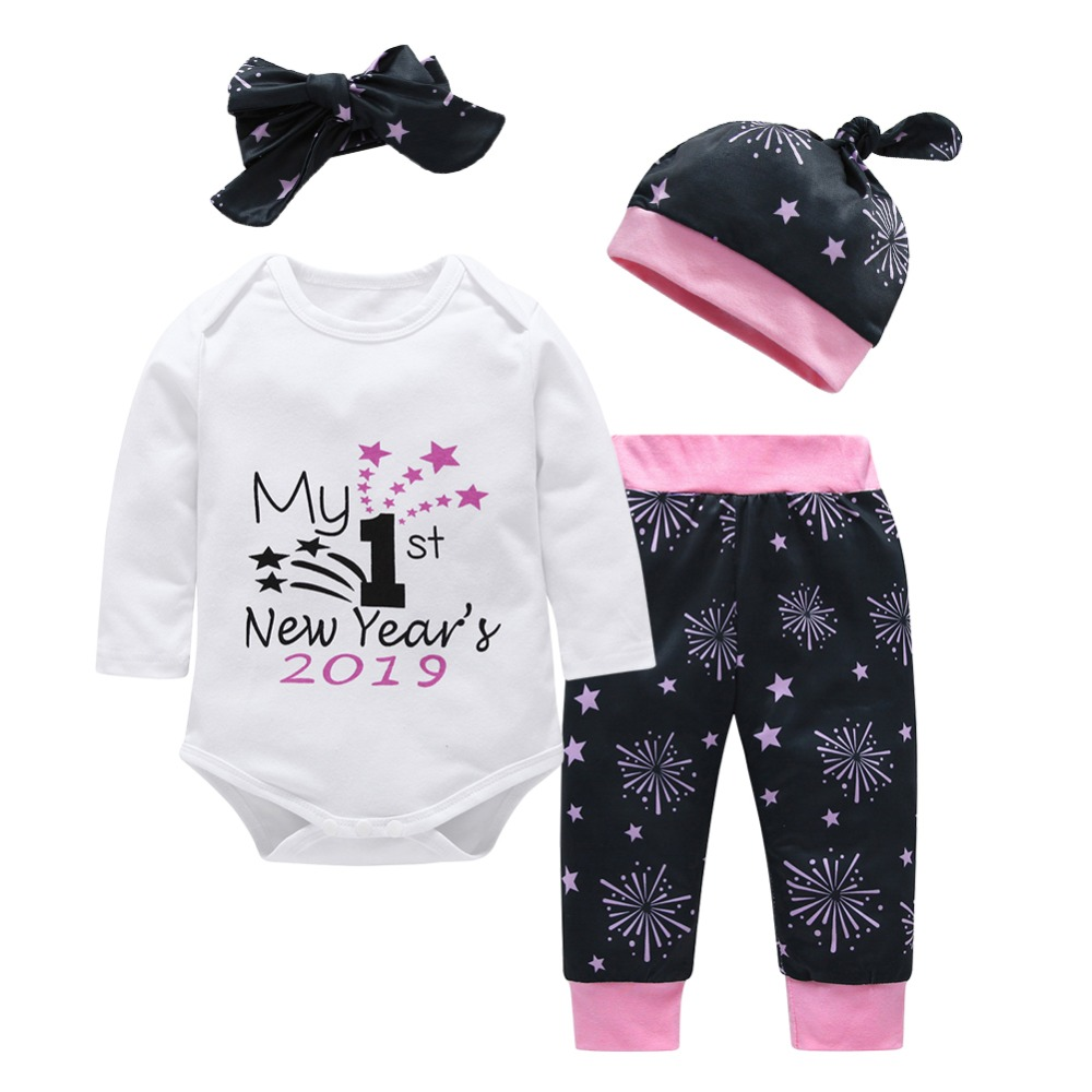 4pcs/Set Cute Letter Star Printed MY FIRST NEW YEAR 2019 Cotton Long Sleeve Romper/Pants/Headband/Hat For Newborn Baby Clothes S my first christmas newborn baby girl long sleeve cotton romper tops snowman print bowknot skirt headband 3pcs xmas clothes set