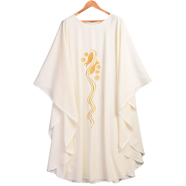 Catholic Church Chasuble Fish Embroidered Vestments White Priest Collar Robe