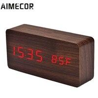 Aimecor LED 알람 시계 음향 제어 감지 온도 디스플레이 전자 데스크톱 시계 u7106