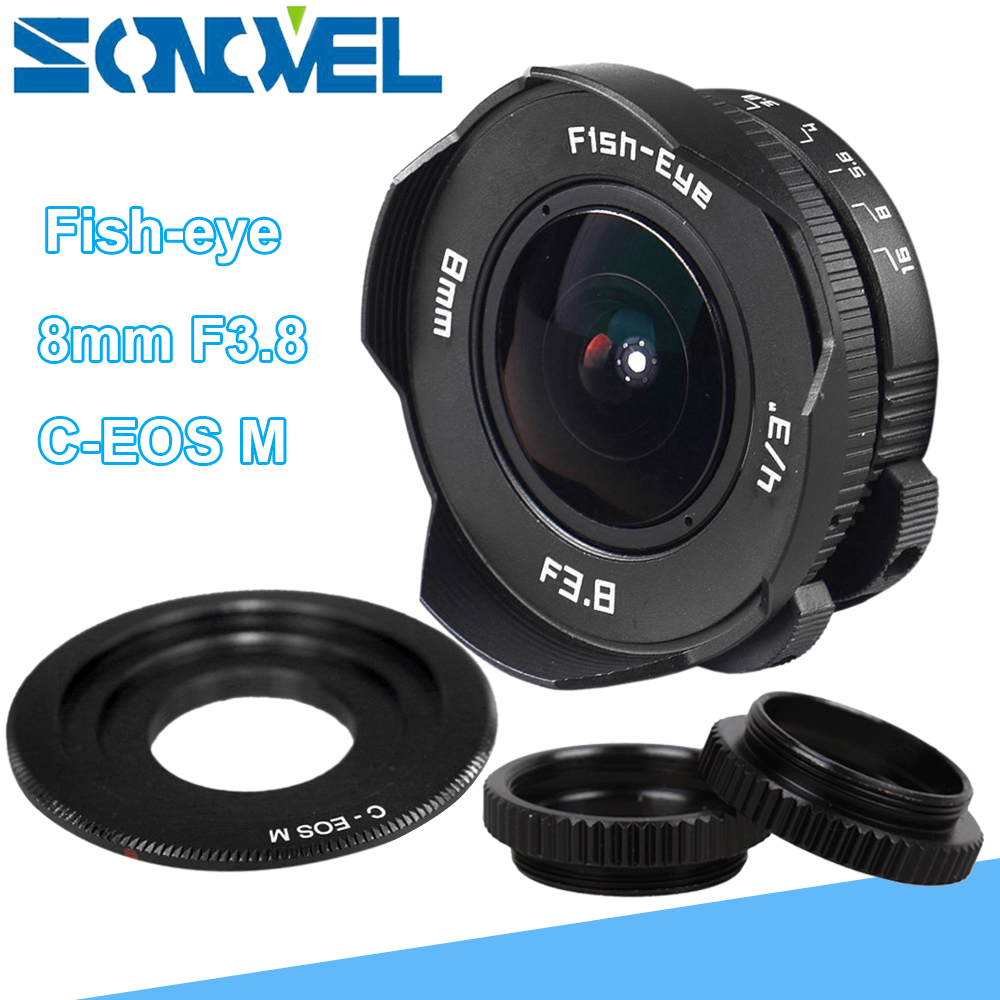 8mm F3.8 Fish-eye CCTV Lens Manual Wide Angle Fisheye Lens Focal length Fish eye Lens Suit For Canon EOS M M2 M3 M5 M6 M10 aps c cl mil7528n 7 5mm f2 8 fish eye wide angle lens suit for fujifilm fx nex micro 4 3 eos m with lens wrist strap