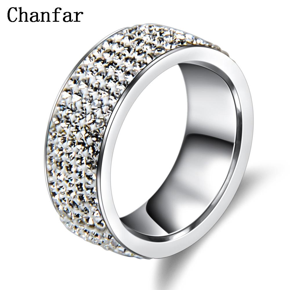 Chanfar 5 Rows Crystal Stainless Steel Ring Women for  Elegant Full Finger Love Wedding Engagement Rings Jewelry Men 1