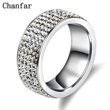 Chanfar, 5 рядов, Кристальное кольцо из нержавеющей стали, женское, для элегантного, полный палец, любовь, обручальные кольца, ювелирные изделия для мужчин