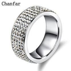 Chanfar 5 rangées cristal acier inoxydable bague femmes pour élégant doigt complet amour mariage bagues de fiançailles bijoux hommes