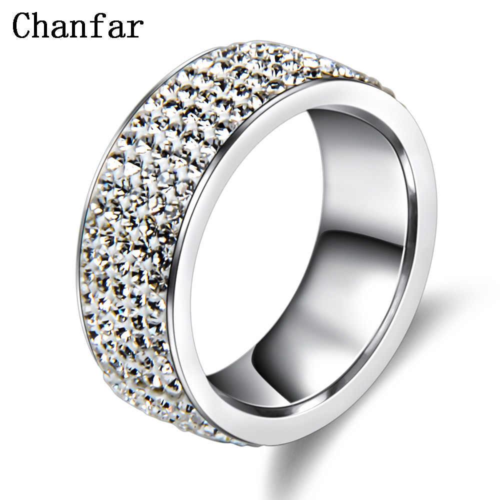 Chanfar 5 แถว Crystal แหวนสแตนเลสผู้หญิง Elegant Full Finger Love งานแต่งงานแหวนหมั้นเครื่องประดับชาย