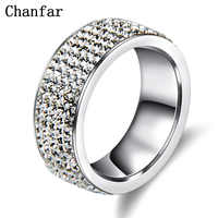 Chanfar 5 Rows Crystal Stainless Steel Ring Women for  Elegant Full Finger Love Wedding Engagement Rings Jewelry Men