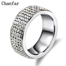Chanfar 5 Rows Crystal Stainless Steel Ring Women for Elegant Full Finger Love Wedding Engagement Rings