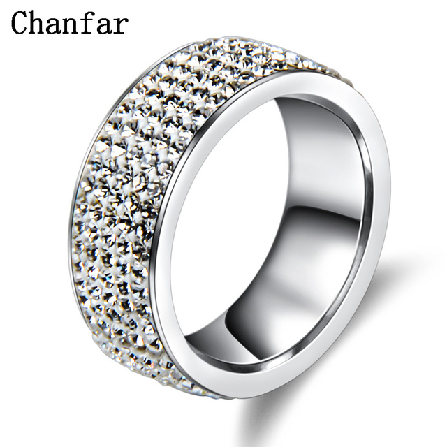 Chanfar 5 שורות קריסטל נירוסטה טבעת נשים אלגנטיות מלא אצבע אהבת חתונה אירוסין טבעות תכשיטי גברים