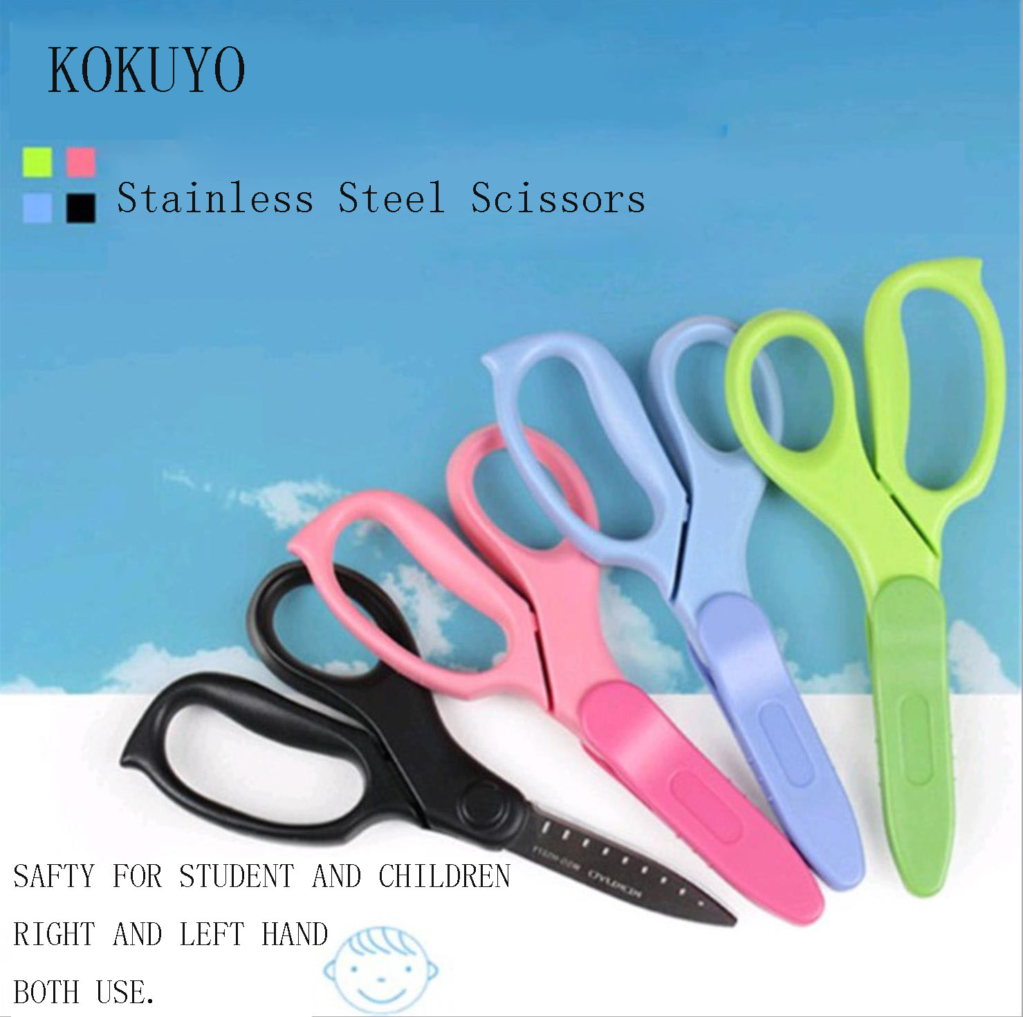 TUNACOCO JAPAN KOKUYO Stainless Steel Scissors Art Scissors Hand Paper Cutting Stationery Children Gift Student Office Qt1710091