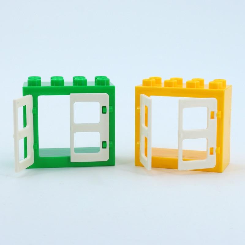 DIY House Big Particles Building Blocks Compatible LegoINGS Duploe Basics Accessory Movable Window Door Set Bricks Kids Toys (17)