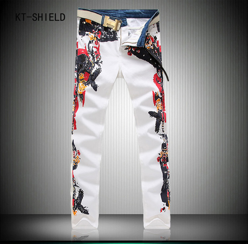 Hot Sale Printed biker Jeans Men Fashion Brand Casual Pants For Men Designer Denim Overalls Men High Quality Straight Mens Jeans famous brand mens jeans straight ripped biker jeans for men zipper denim overalls men fashion designer pants blue jeans homme