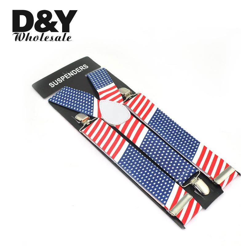 """""""Флаг США/Америки"""" y-образные подтяжки для женщин и мужчин, унисекс, эластичные подтяжки с клипсами, Ширина 3,5 см"""