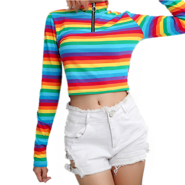 617e08778b2 T-shirt Women Fashion Womens Long Sleeves Turtleneck Rainbow Color Zipper  Tops T shirt Das