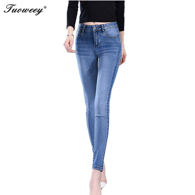 90a654f32e62f Sexy Jeans Female Pants mid Waist Plus Size Denim Pant Skinny Jeans Woman  Cotton Thick Jean For Women Elastic Pencil Pants