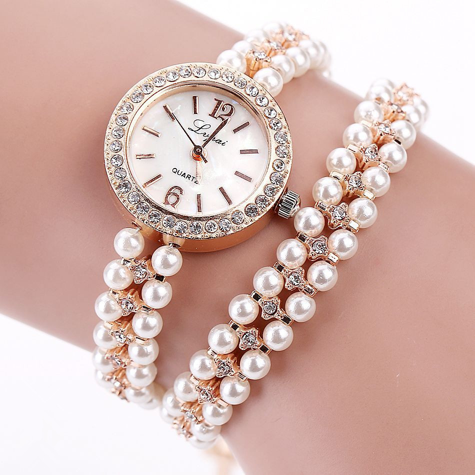 NanBo Quartz Watch Women Gold Pearl Jewelry Steel Bracelet Wristwatch Women Female Ladies Crystal Casual Fashion Watch Lahore