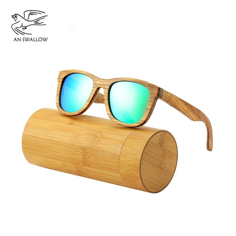 AN SWALLOW New 100% Real Zebra Wood Sunglasses Polarized Handmade Bamboo Mens Sunglass Sun glasses Men Gafas Oculos De Sol Mader 1