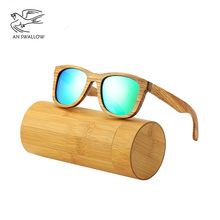 AN SWALLOW New 100% Real Zebra Wood Sunglasses Polarized Handmade Bamboo Mens Sunglass Sun glasses Men Gafas Oculos De Sol Mader