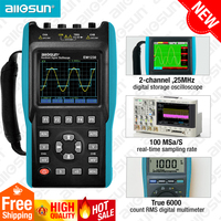 2in1 Handheld Oscilloscope 2 Channels with Color Screen Scope Digital Multimeter DMM Meter EM1230 all sun