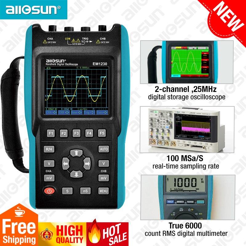 2in1 L'oscilloscope Portable 2 Canaux avec Écran Couleur Portée Numérique Multimètre DMM Compteur EM1230 all-sun