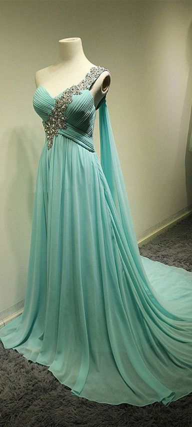 2016 Greek Style Light Blue One Shoulder Evening Dresses Appliques