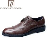 NORTHMARCH Brand Formal Dress Men Shoes Genuine Leather Brogue Italian Classic Office Wedding Mens Casual Oxford Sepatu Pria