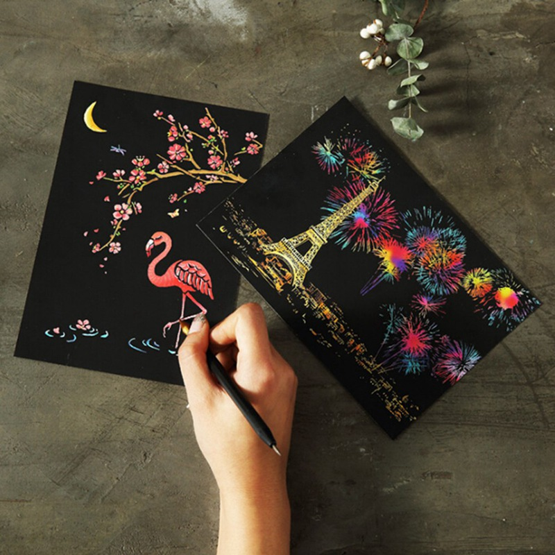 4Pcs/set Magic Colorful Drawing Board Paper Painting Scraping Children Kids Learning Education Toys Painting Doodle Scratch Toys