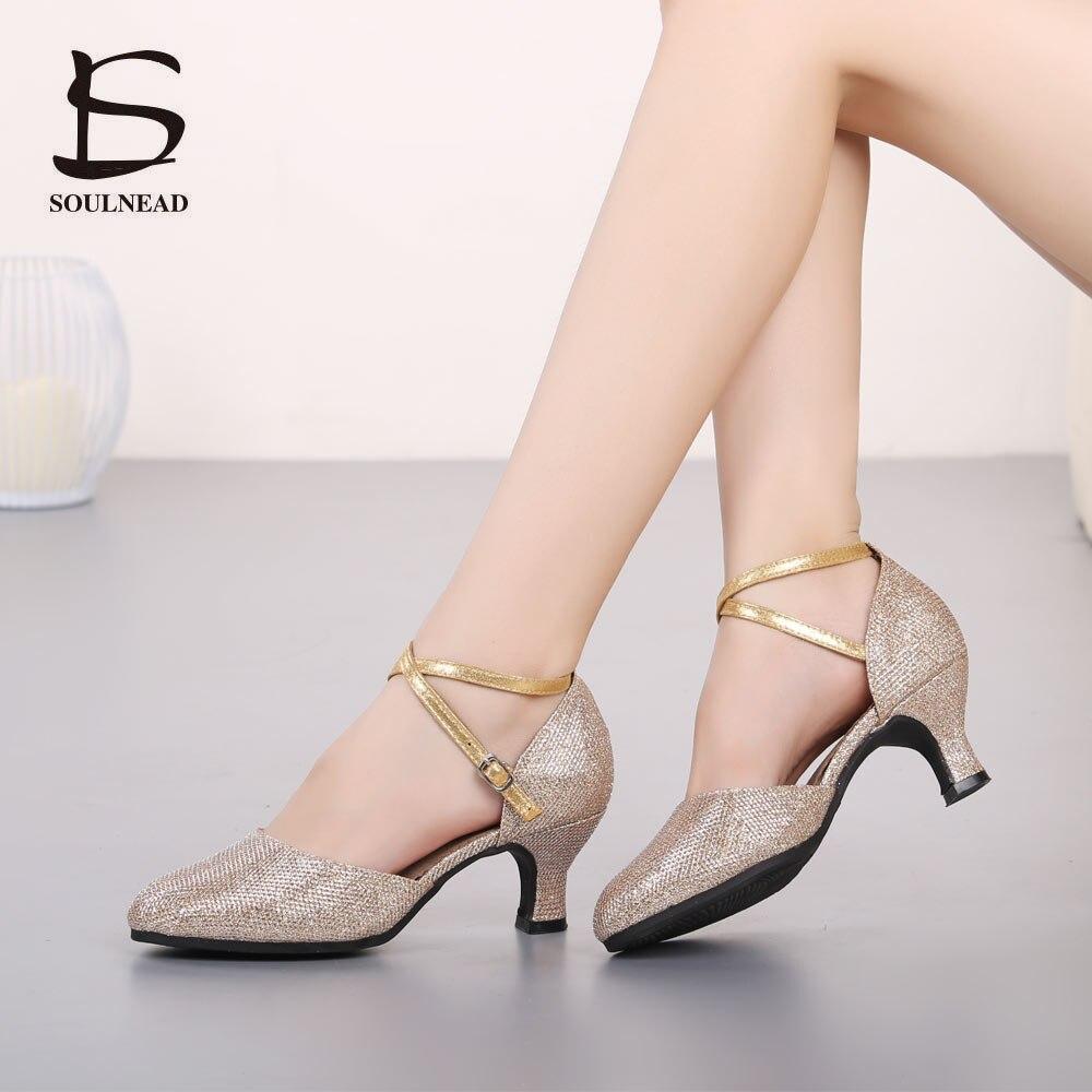 New Women Latin Dance Shoes Salsa High Quality Sequin Tango Modern Soft Bottom Girls Dancing Shoes National Standard Dance Shoes