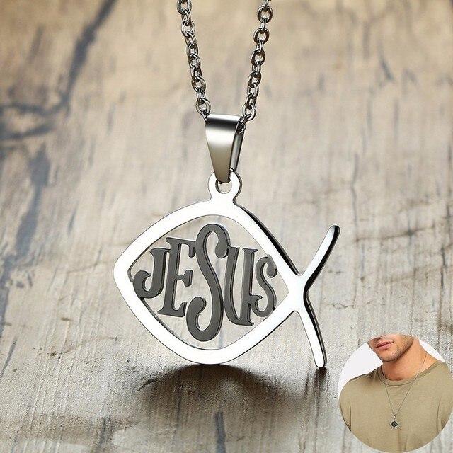 Ikan Yesus Liontin Kalung Simbol Kristen Stainless Steel Ichthus Kalung  Ixoye Lambang Jimat Jimat Pria Perhiasan 5f73674ebd