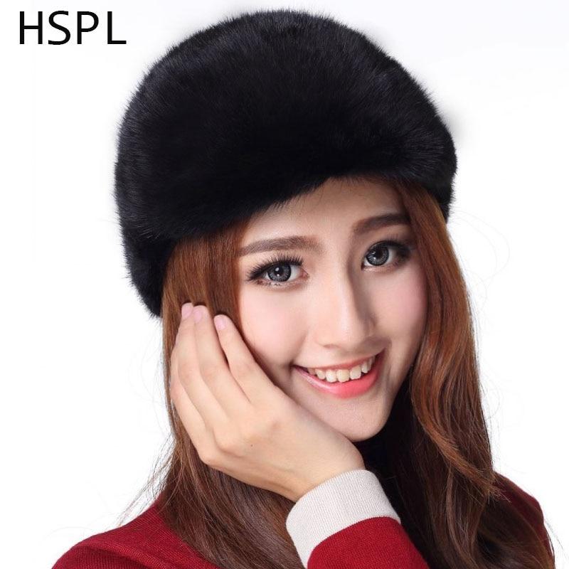 HSPL Hats For Women 2017 Snapback Natural Mink Fur Hat Women winter Genuine Mink fur Caps Black Brown Mink fur