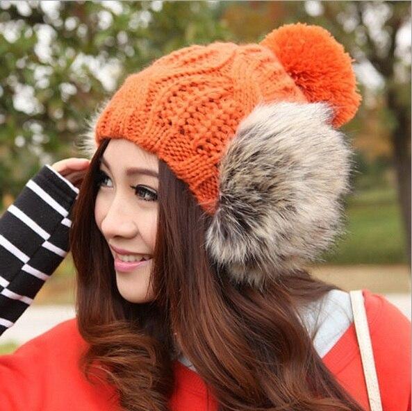 2017 NEW Autumn and winter brand knitting Warm wool faux fur hat ear warm beanie skullie unisex hat accessories