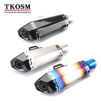 TKOSM Universal Motorcycle Exhaust Pipe 51mm 60mm Modified Scooter Exhaust Muffler For Kawasaki Z750 Z800 For