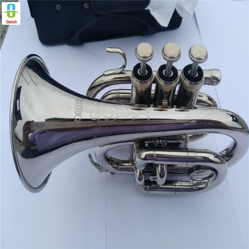 BRAND NEW ! Bb SILVER CHROME PLATED POCKET TRUMPET W/ MP + HARD CASE silver plated double french horn f bb 4 key brand new with case