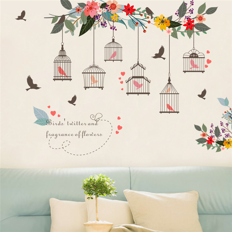 Colorful Flower Bird Birdcage Wall Sticker PVC Wall Art Decal For ...