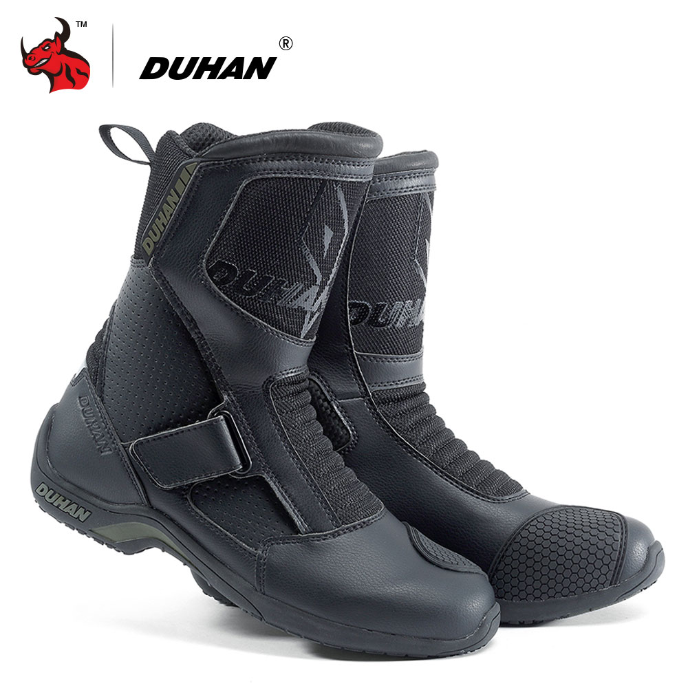 DUHAN Motorcycle Boots Men Superfiber Motorcycle Road Racing Shoe Moto Motocross Boots Bota Motociclista Black