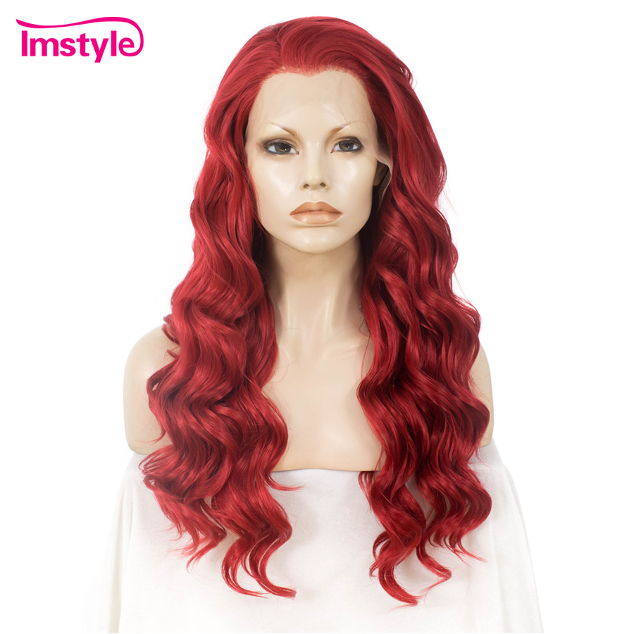 Imstyle Red Synthetic Lace Front Wig Body Wave Long Hair Wigs For Women Heat Resistant Fiber Glueless Cosplay Wig Free Part