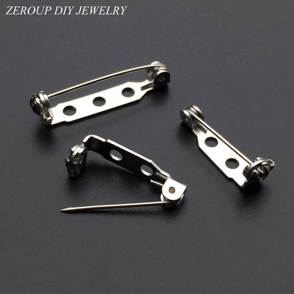 ZEROUP 40pcs White K Plated Brooch Base Safety Pins Brooch Bar Setting Supplies for Jewelry Finding