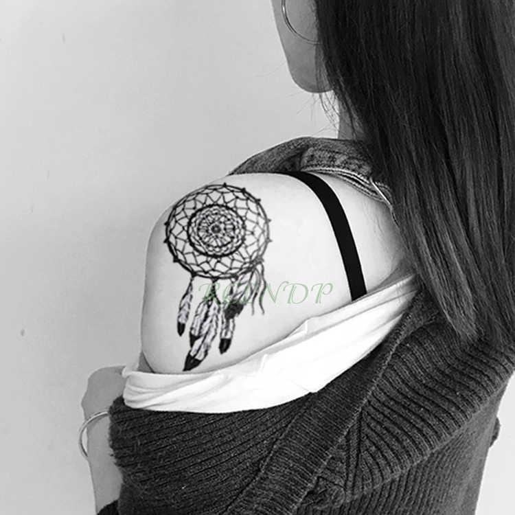 עמיד למים זמני קעקוע מדבקת לוכד חלומות שועל מזויף Tatto נוצת סגנון חלום התפסן פלאש קעקוע Tatouage עבור גברים נשים