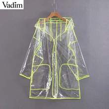 Vadim women stylish transparent loose hooded raincoat long sleeve pockets female chic oversized jacket coats CA436(China)