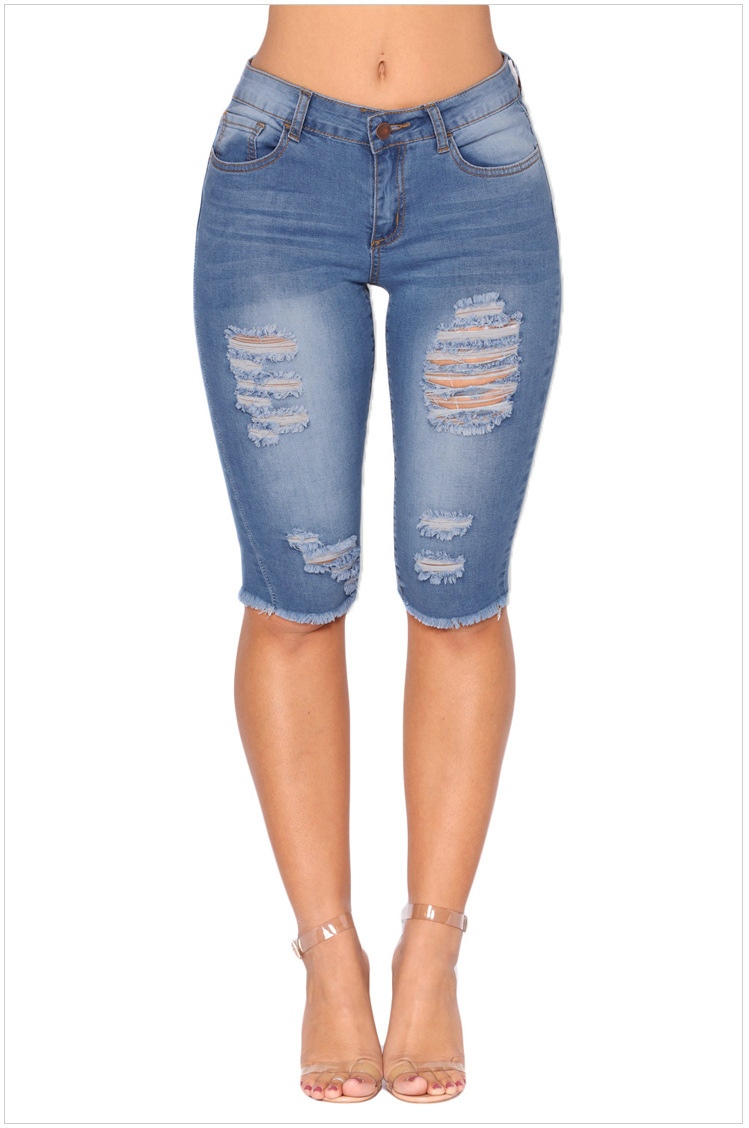 despeje realmente cómodo Garantía de calidad 100% Compre Longitud De La Rodilla Stretch Jeans Rasgados Para Mujer Agujeros  Plus Size Shorts De Mezclilla Con Cintura Alta Jeans Mujer Mujer Jean Femme  A ...