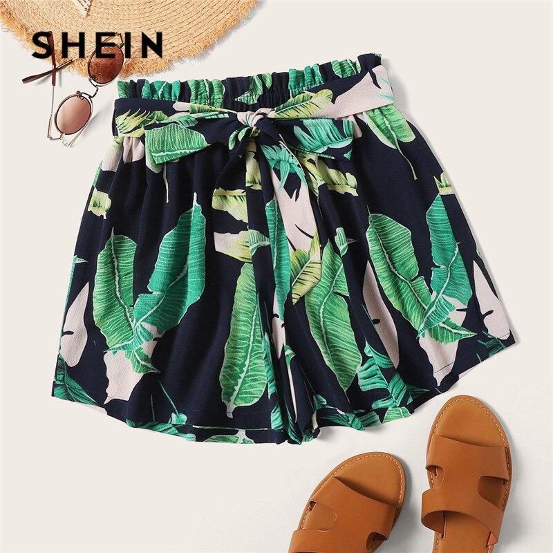 SHEIN Bohemian Belted Paperbag Waist Tropical Print Shorts Women 2019 Beach Vacation Casual Elastic Waist Summer Shorts