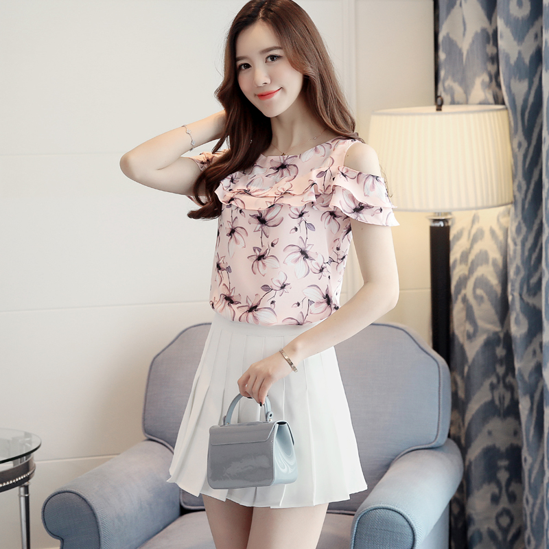 New Hollow Out Off Shoulder Cropped Women Short Sleeve Flower Printed Blouses Casual Ruffle blouses Tops 2019 Fashion pink 956i5 in Blouses amp Shirts from Women 39 s Clothing