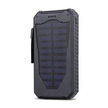 Banco de la Energía 15000 mAh Solar al aire libre A Prueba de agua Dual USB Portátil con Led Antorcha Batería Recharable batería a prueba de Golpes