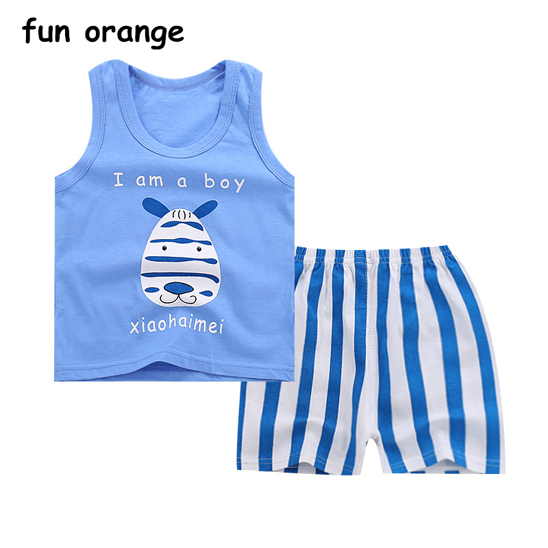 Fun Orange Summer Baby Clothing Set Cartoon Boys Girls Kids Vest Clothes Set Cotton Sleeveless Sports T Shirts Toddler Shorts
