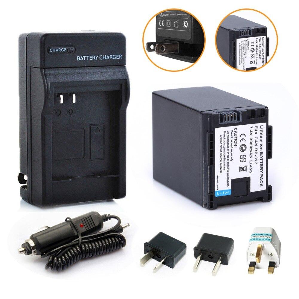 Probty 1 x BP-827 BP827 batería + cargador + coche + adaptador para Canon HF10 HF11 HF100 HF20 HF200 HF S10 S11 S100 S20 S21