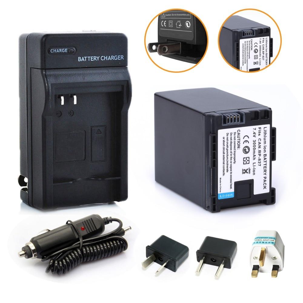 Probty 1 x BP-827 BP827 Batterie + Kfz-ladegerät + Stecker Adapter Pack für CANON HF10 HF11 HF100 HF20 HF200 HF S10 S11 S100 S20 S21